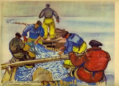 MÉHEUT Mathurin,  Sardiniers démaillant la sardine