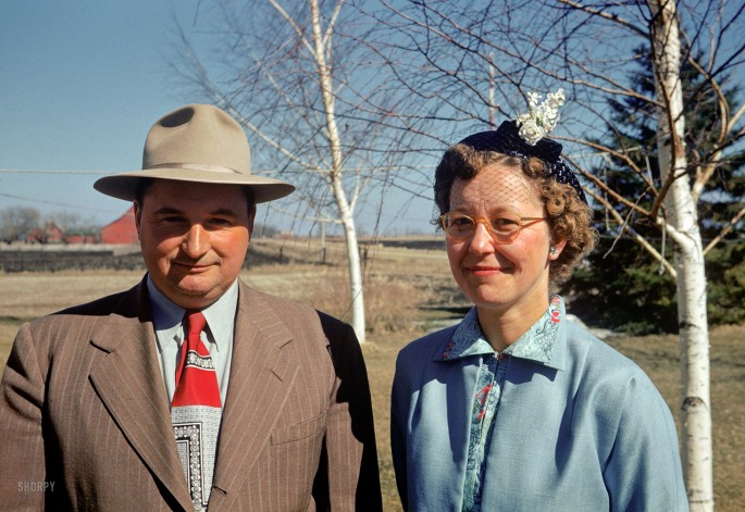 """Howard & Rena, April 1952."" Visiting Claude's farm somewhere in Minnesota, affording us our third look at these colorful Kodachromes."