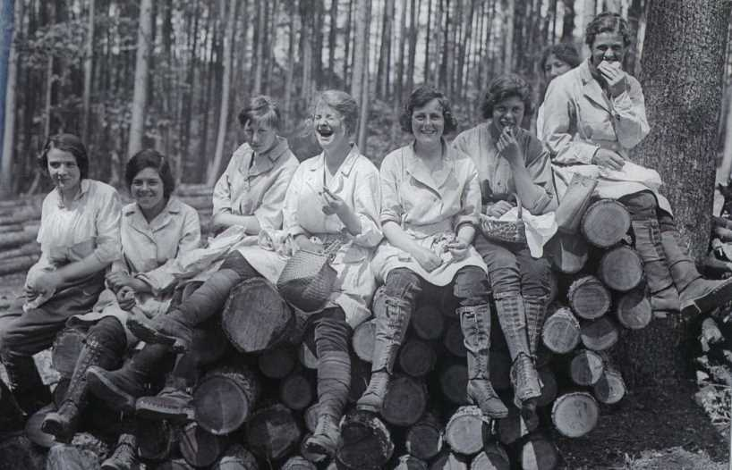 Forestry girls enjoying a lunch break in Epping Forest, England 1916