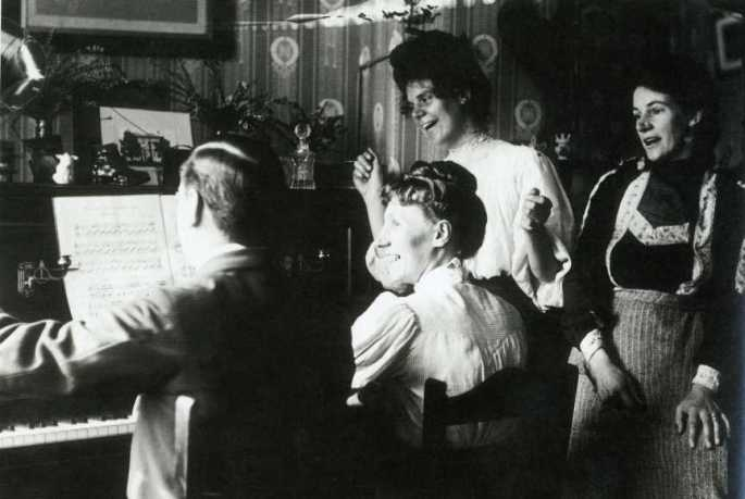 British family gathered at the piano circa 1910--Readers Digest UK
