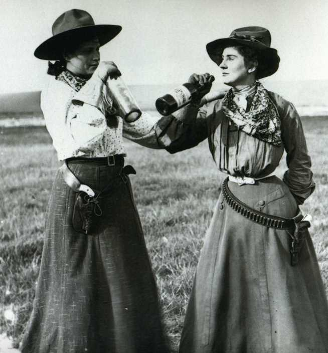 An Illinois and an Idaho cowgirl kicking back 1898 style--American Heritage Center, U of Wyoming