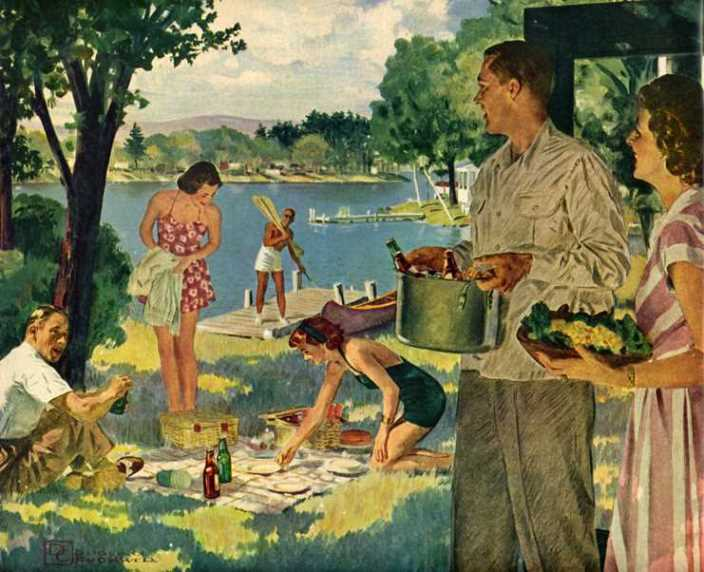 """""""Weekend at the Lake"""" by Douglas Crockwell for US Brewer's Foundation"""