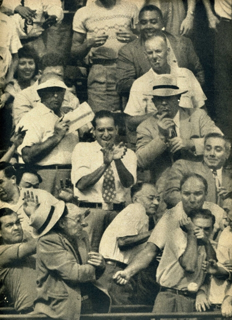 Brooklyn Dodgers game, 1951, ball hit by Roy Campanella