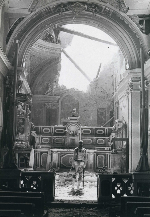 An American soldier in a bombed Italian church WWII, Life: Our Finest Hour