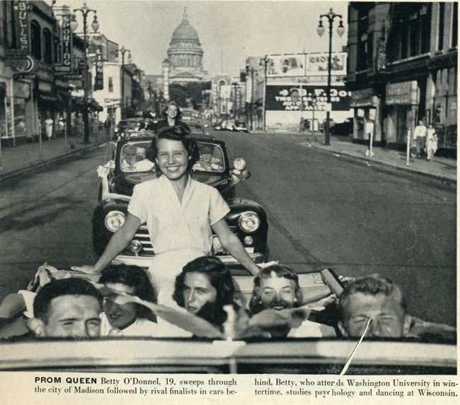 Life '49, Univ of Wisconsin summer prom queen paraded through streets