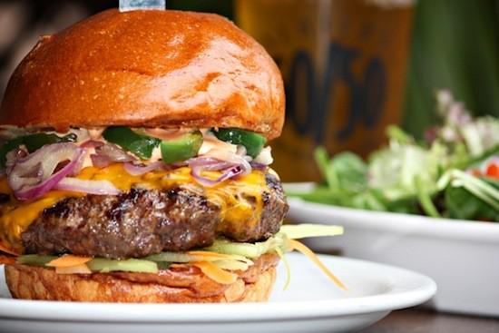 Slater's 50/50 bison burger in Huntington Beach, CA